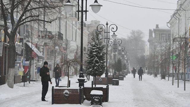 Снег в Симферополе. 23 февраля 2019
